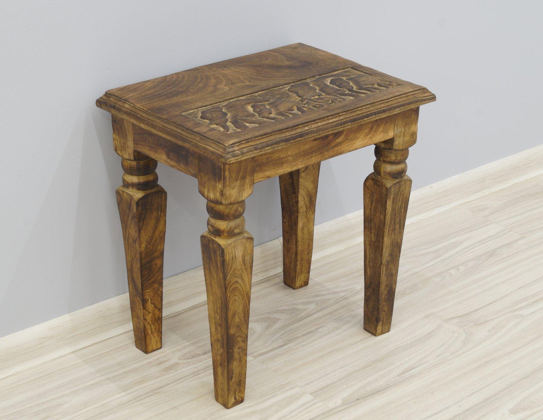 Stolik stołek taboret indyjski lite drewno mango rzeźbiony średni