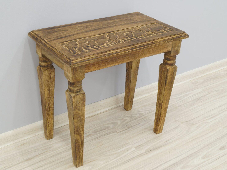 Stolik stołek taboret indyjski lite drewno mango rzeźbiony duży