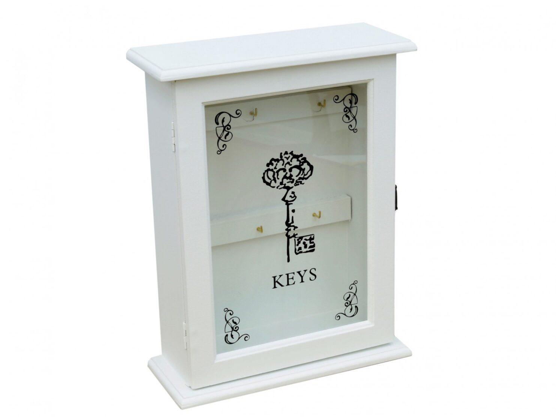 Szafka na klucze biala drzwiczki ze szkła 6 haczykow
