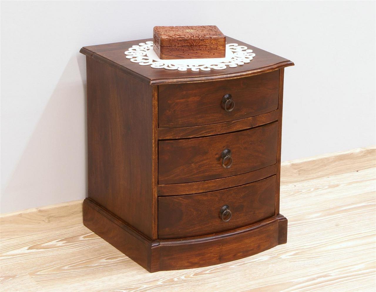 Szafka nocna stolik nocny lite drewno palisander indyjski ciemny brąz 3 szuflady nowoczesna