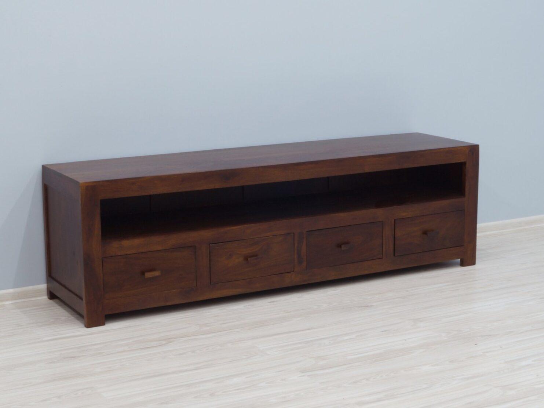 Szafka pod telewizor komoda RTV lite drewno palisander indyjski styl minimalistyczny ciemny brąz