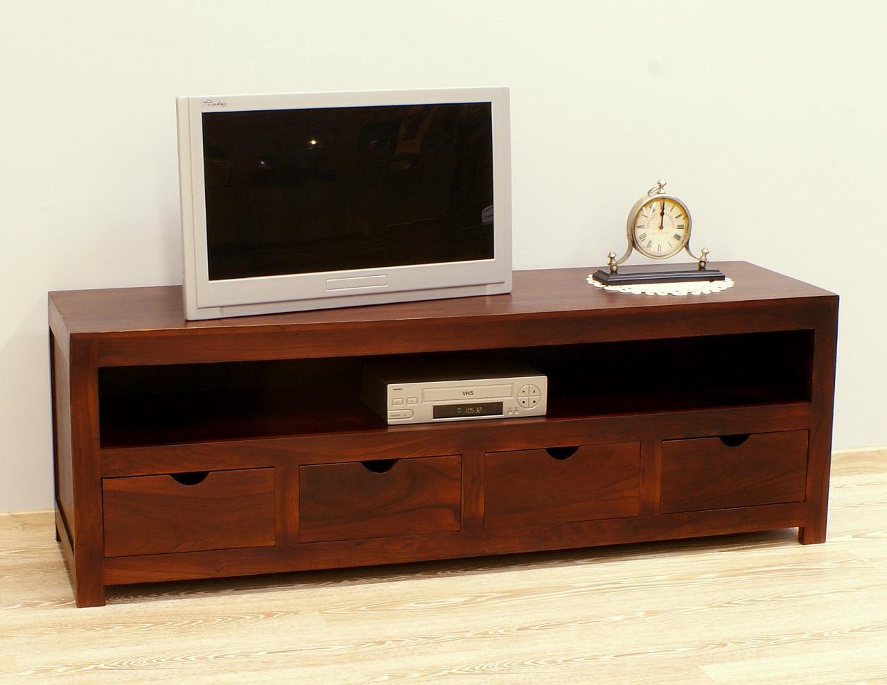 Szafka pod telewizor komoda RTV lite drewno palisander indyjski styl modernistyczny ciemny brąz
