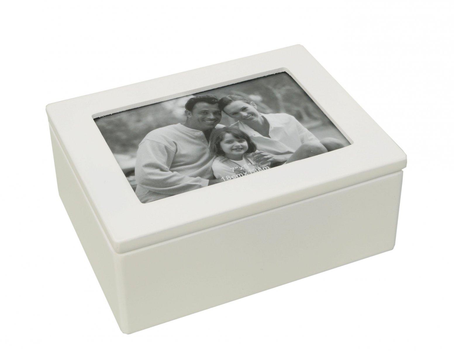 Szkatułka na biżuterię biała styl Retro z lusterkiem miejsce na zdjęcie