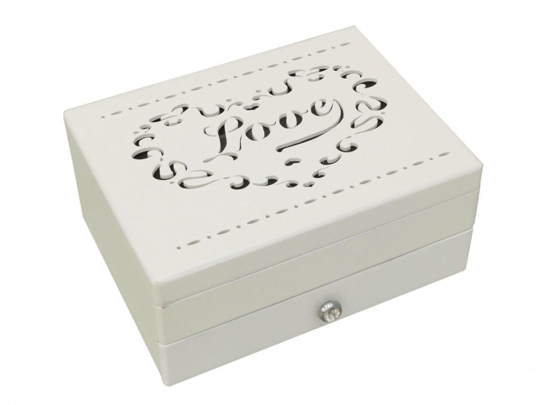 Szkatułka na biżuterię puzderko biała ażurowe wieko drewniana 2 gatunek