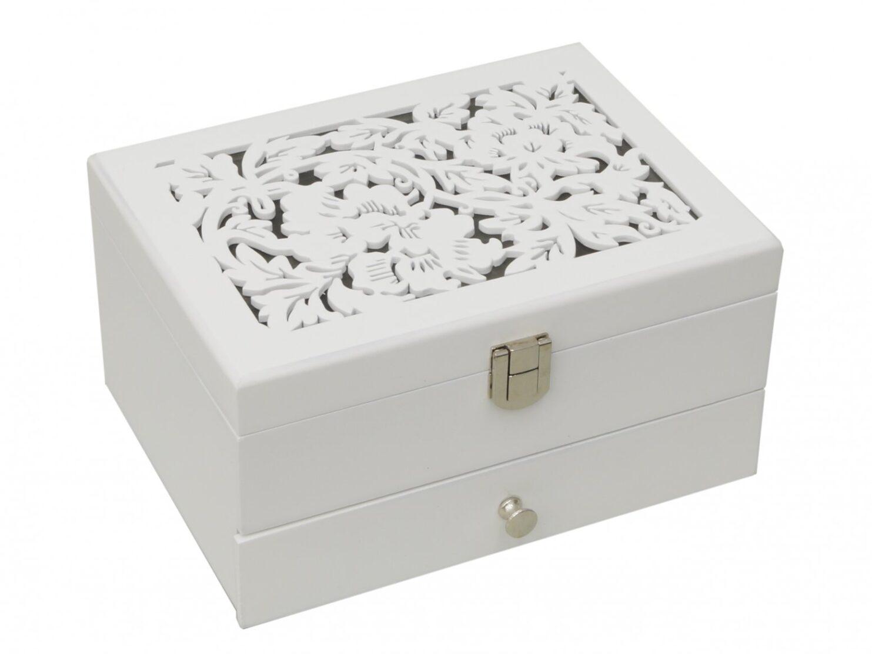 Szkatułka organizer na biżuterię biała z szufladką i przegródkami 2 gatunek