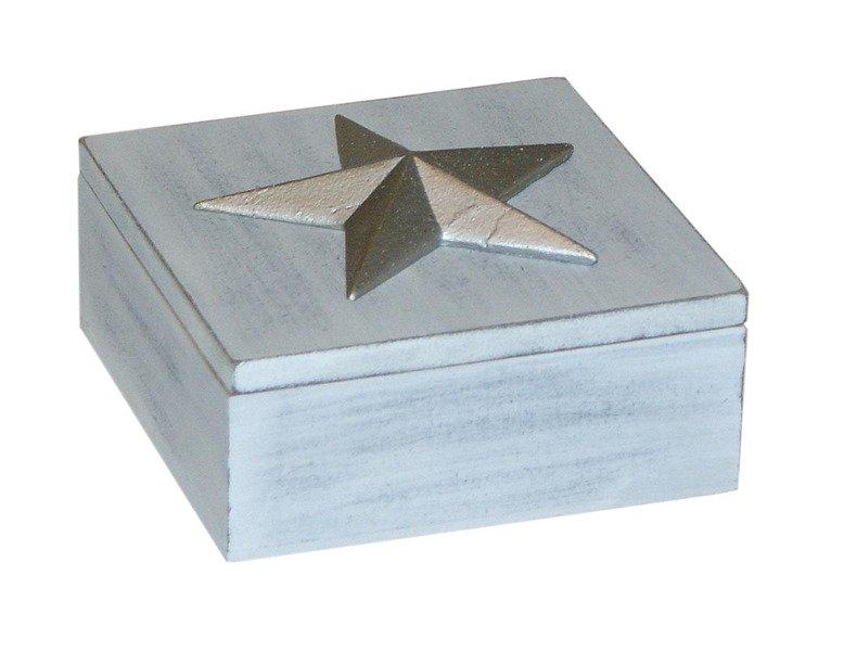 Szkatułka pudełko malowane przecierane dekoracyjna gwiazda
