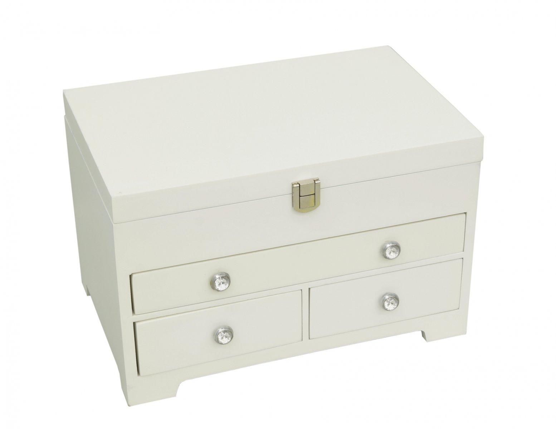 Szkatułka pudełko organizer na biżuterię biała z szufladkami