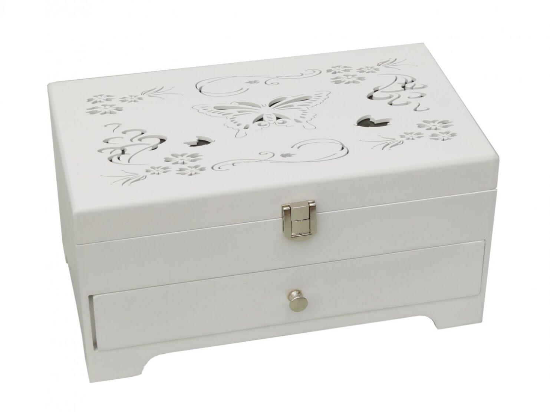 Szkatułka puzderko biała drewniana na biżuterię