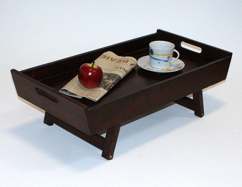 Taca do serwowania ze składanymi nóżkami drewniana ciemny brąz