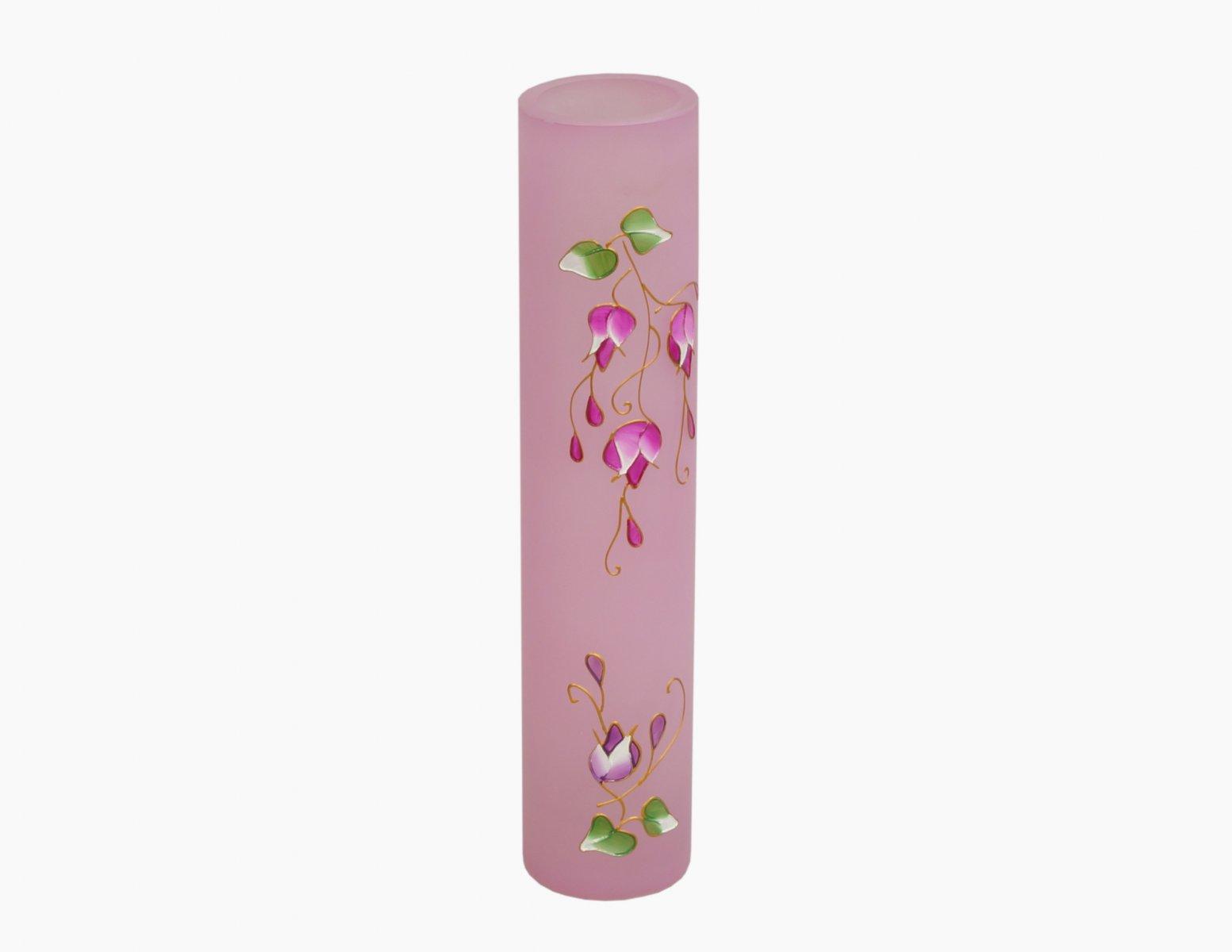 Wazon szklany ręcznie malowany różowy