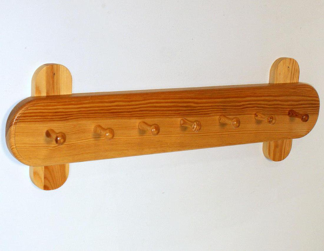Wieszak ścienny drewniany jasny brąz