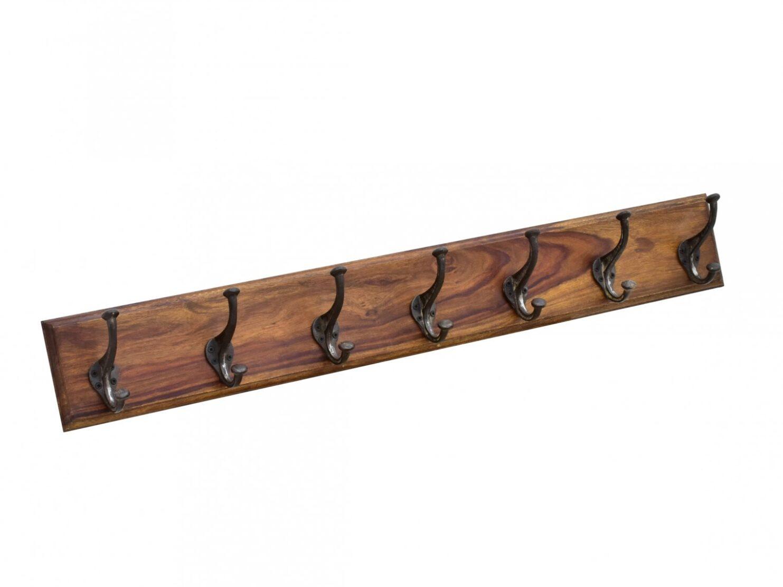 Wieszak scienny kolonialny lita deska palisander indyjski 7 hakow jasny braz