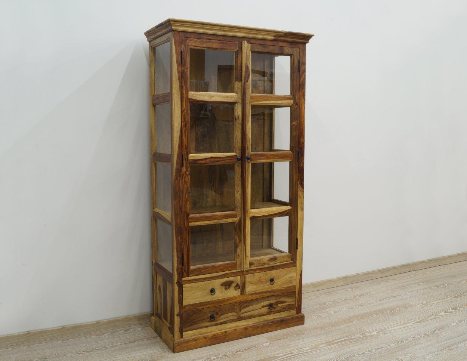 Witryna kolonialna lite drewno palisander dwudrzwiowa z szufladami