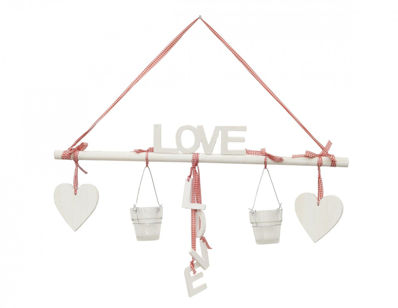 Zawieszka dekoracja ozdoba napis LOVE świeczniki serca