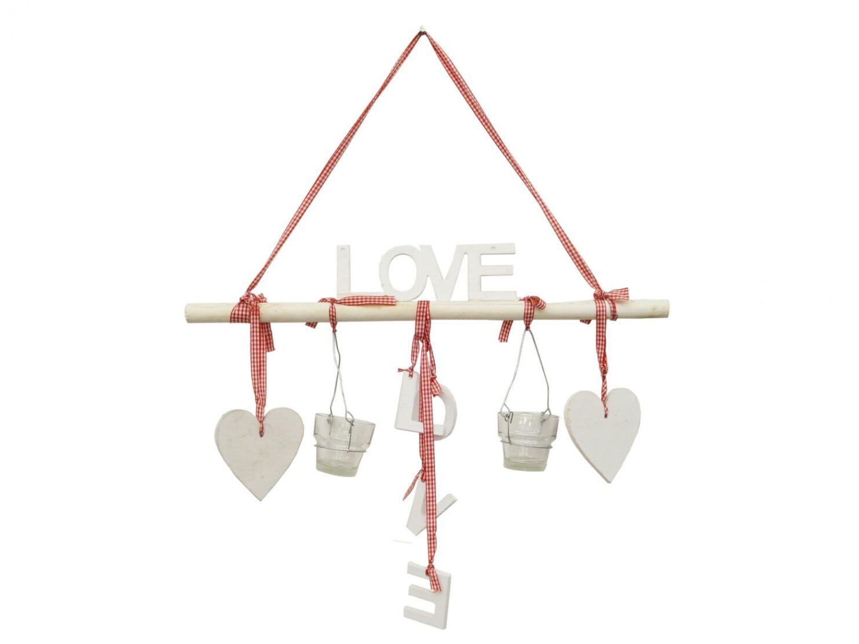 Zawieszka dekoracja ozdoba napis LOVE serca świeczniki