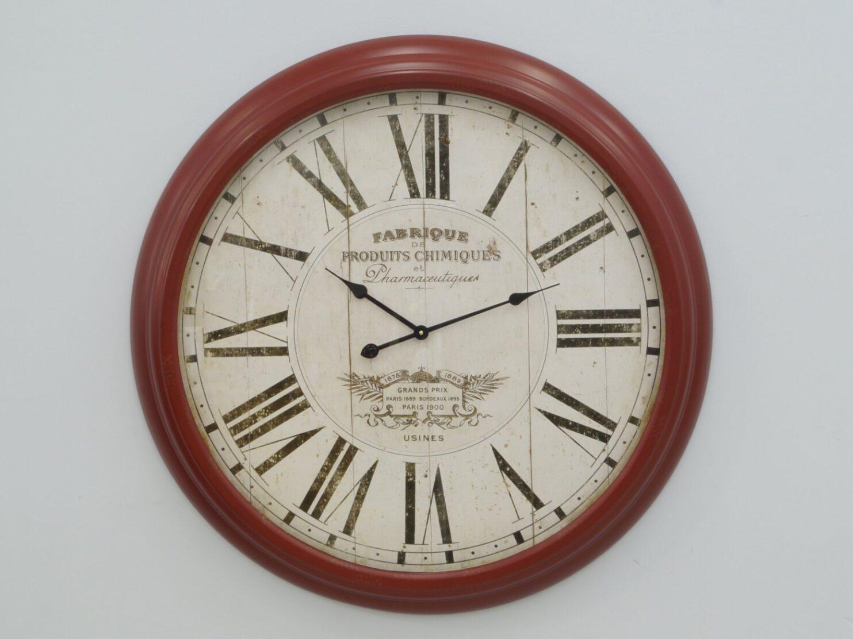 Zegar ścienny rzymskie cyfry francuskojęzyczne napisy