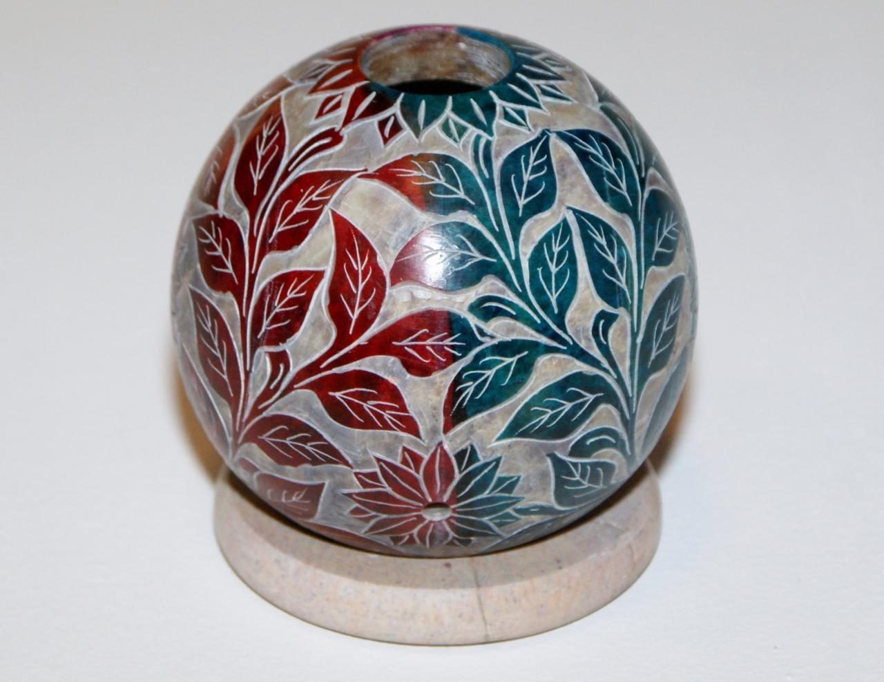 swiecznik z kamienia indyjski recznie rzezbiony