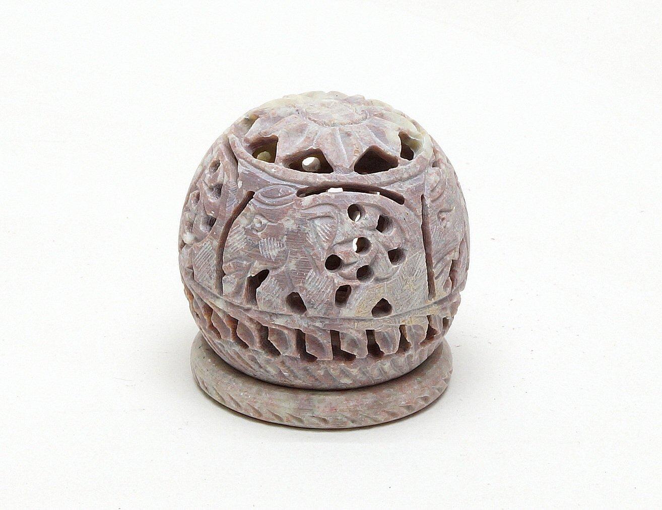 swiecznik z kamienia indyjski recznie rzezbiony azurowy kula