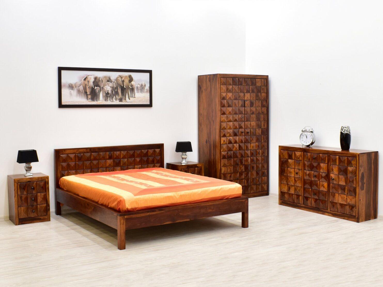 Łóżko indyjskie lite drewno palisander unikatowe wezgłowie miodowy brąz
