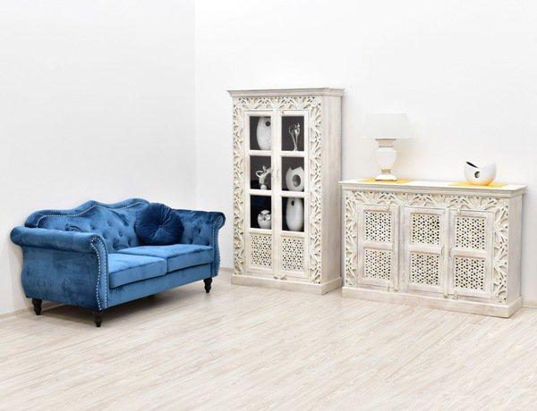 Kolekcja mebli indyjskich drewnianych bielonych przecieranych TAJ MAHAL