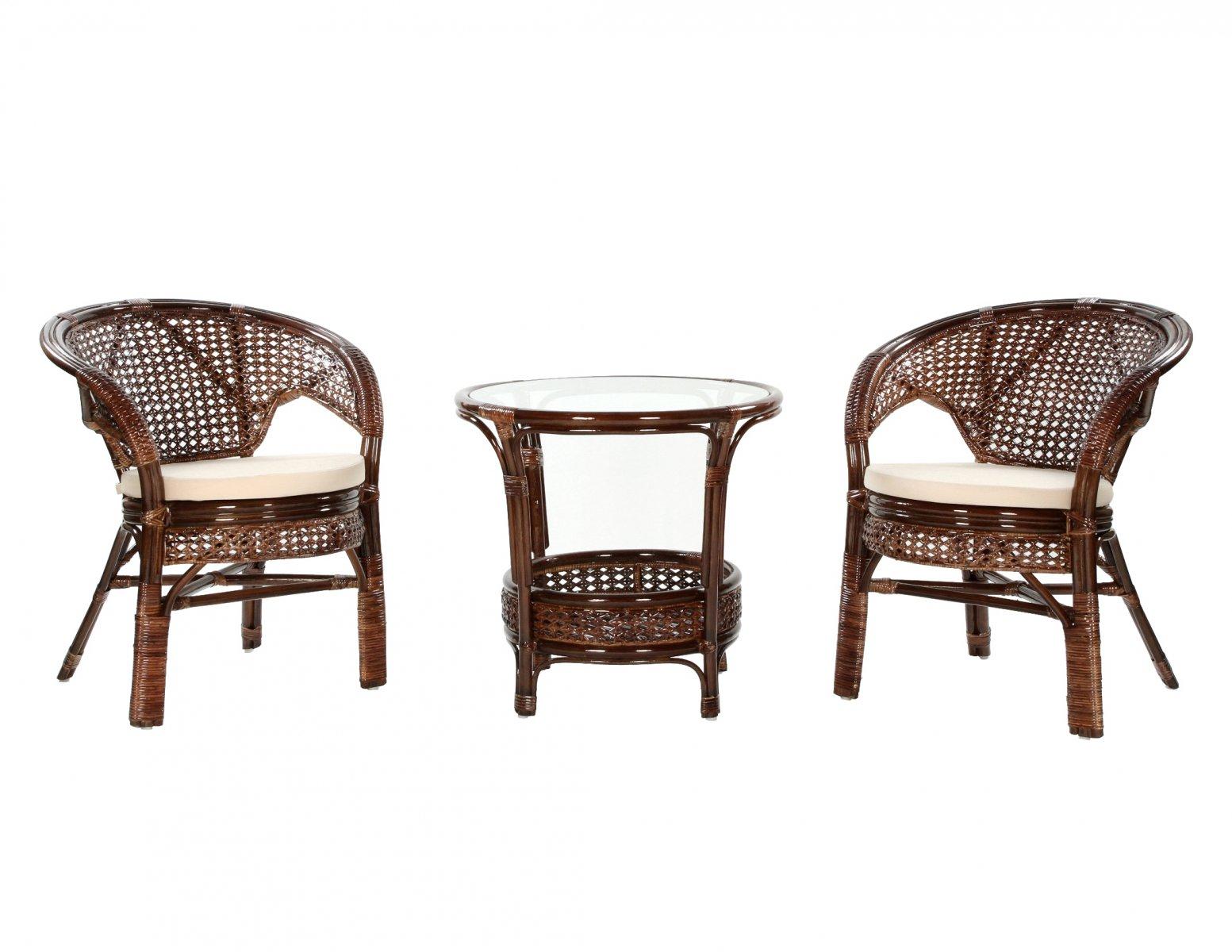 Komplet kawowy z rattanu okragly stolik + 2 fotele w ciemnym odcieniu brazu