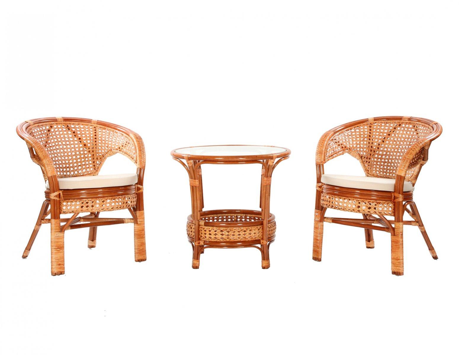 Komplet kawowy z rattanu okragly stolik + 2 fotele w kolorze koniakowym