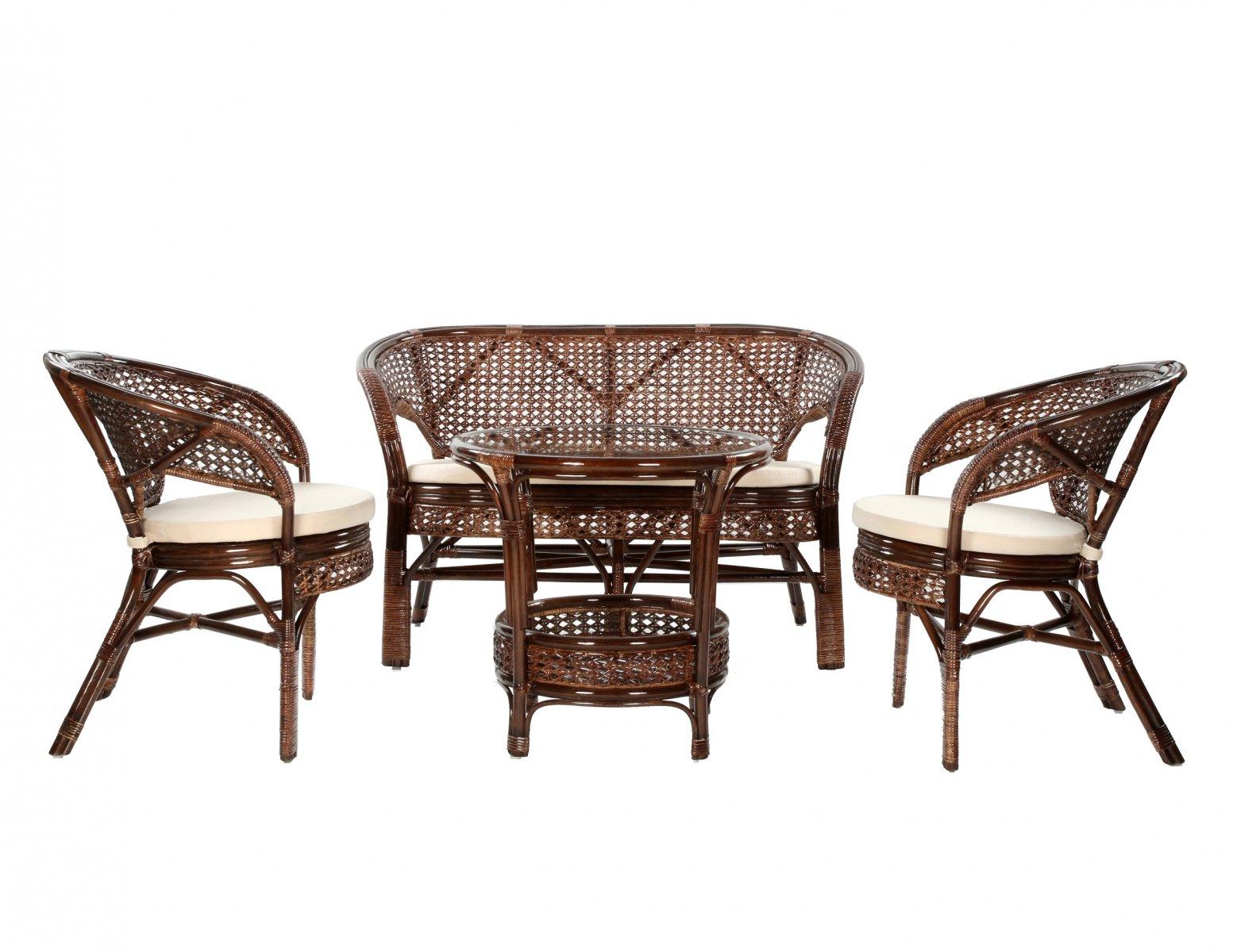 Komplet wypoczynkowy recznie wykonany z rattanu okragly stolik 2 fotele sofa 2-osobowa