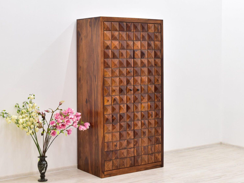 Szafa indyjska lite drewno palisander miodowy brąz z półkami pałąkiem
