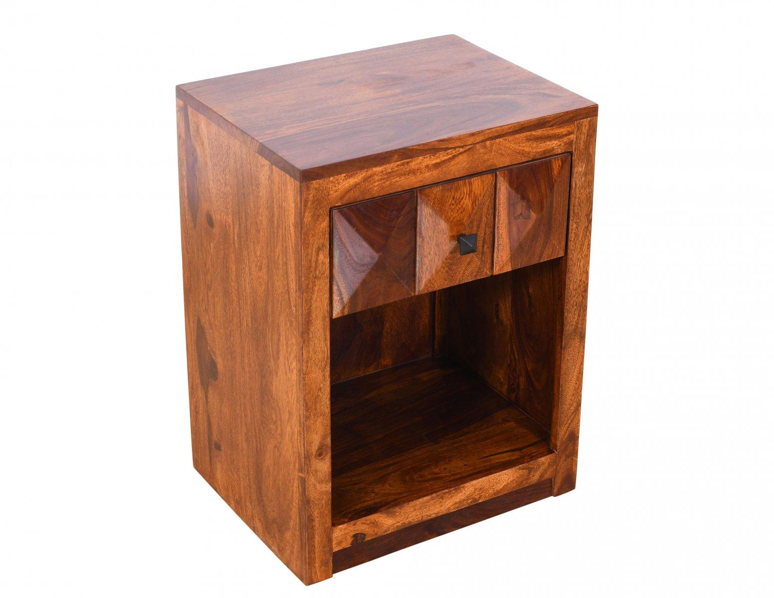Szafka nocna indyjska lite drewno palisander z szufladą miodowy brąz
