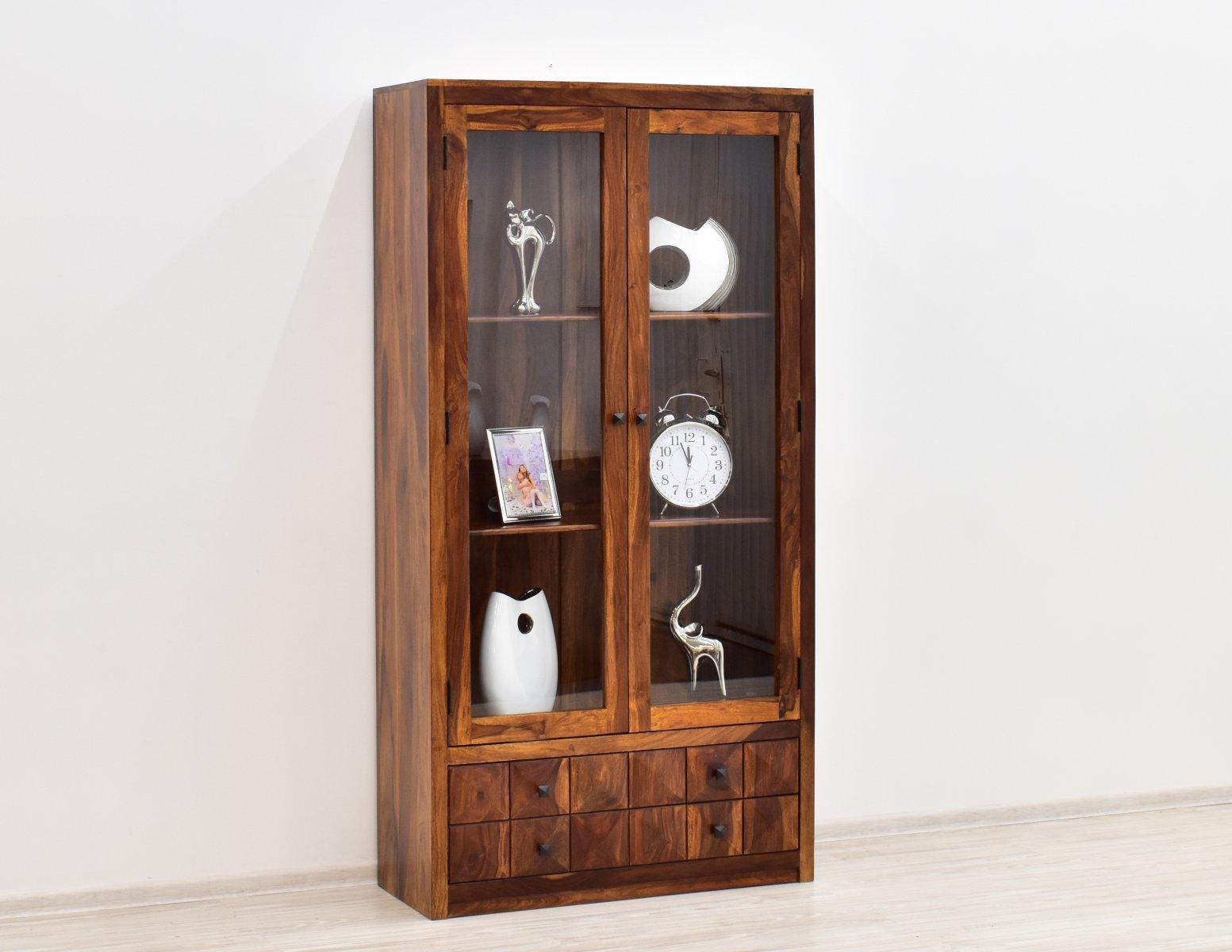 Witryna indyjska lite drewno palisander miodowy brąz z szufladami