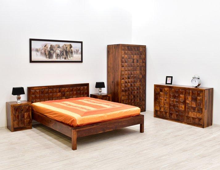 sypialnia kolonialna indyjska lite drewno palisander lozko szafki nocne szafy komoda