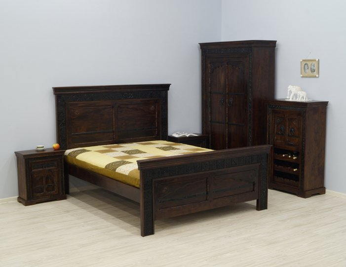 sypialnia kolonialna lozko szafki nocne komoda szafa lite drewno akacja indyjska