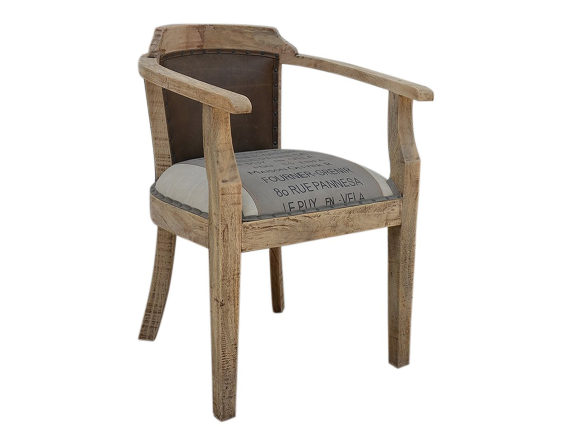 Fotel kolonialny loftowy tapicerowane siedzisko oparcie lite drewno mango