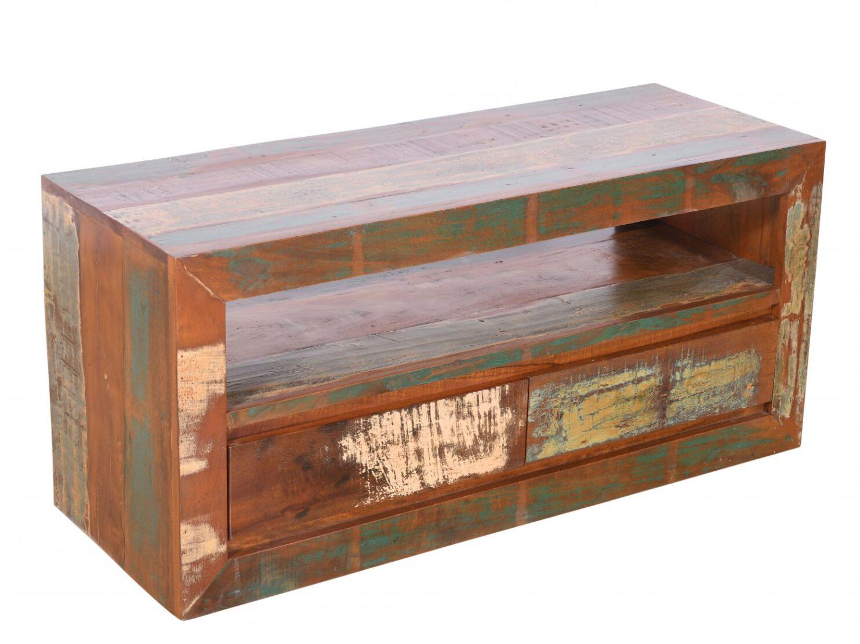 Komoda RTV szafka kolonialna lite drewno mango przecierana kolorowa 2 szuflady