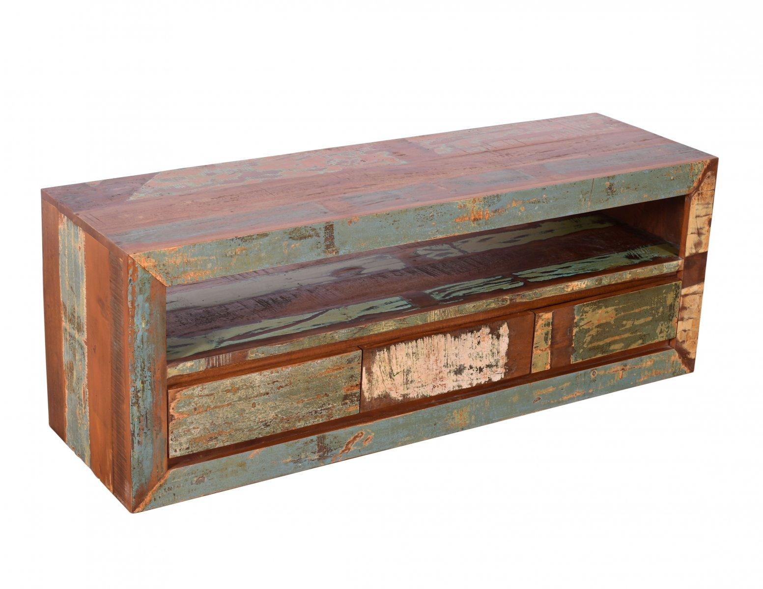 Komoda RTV szafka kolonialna lite drewno mango przecierana kolorowa 3 szuflady