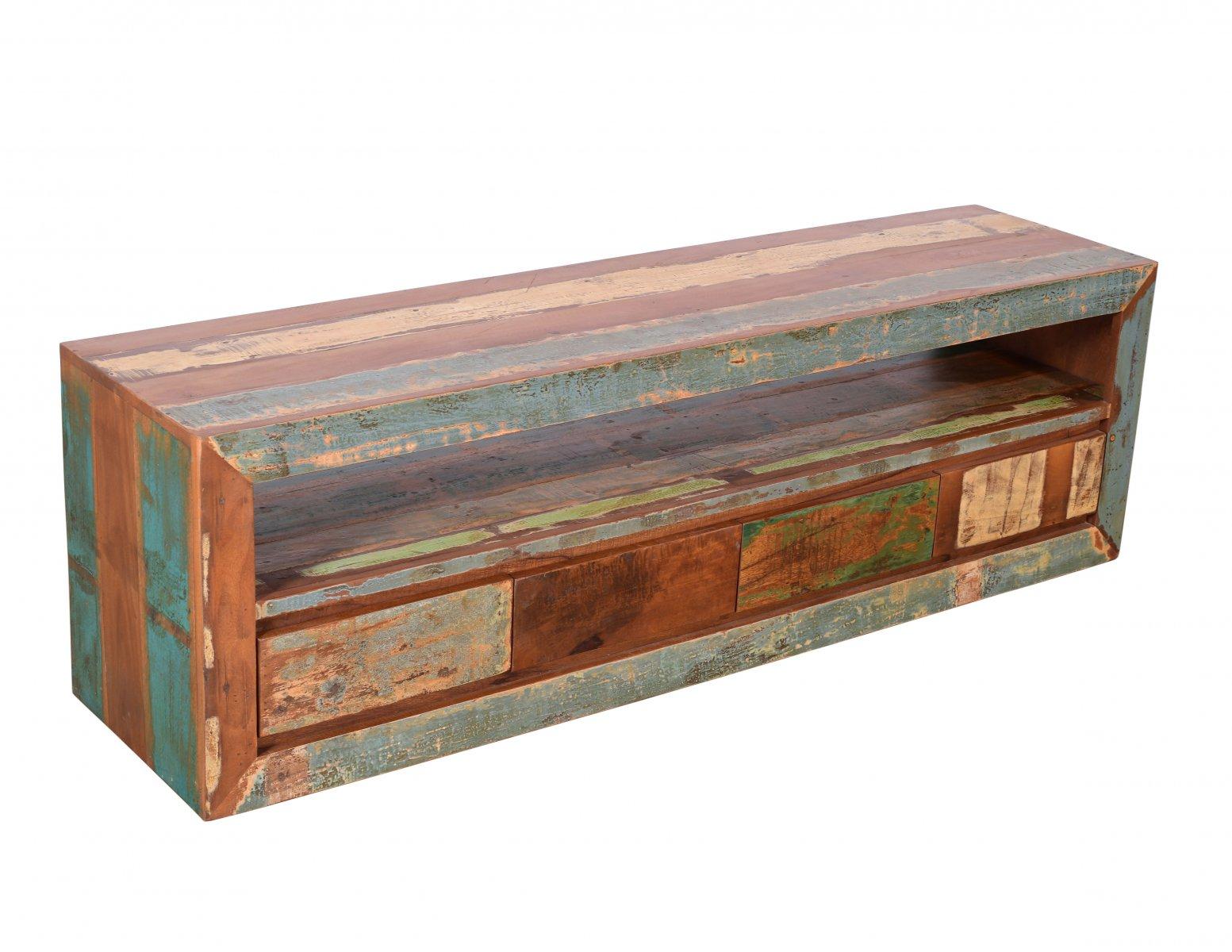 Komoda RTV szafka kolonialna lite drewno mango przecierana kolorowa 4 szuflady