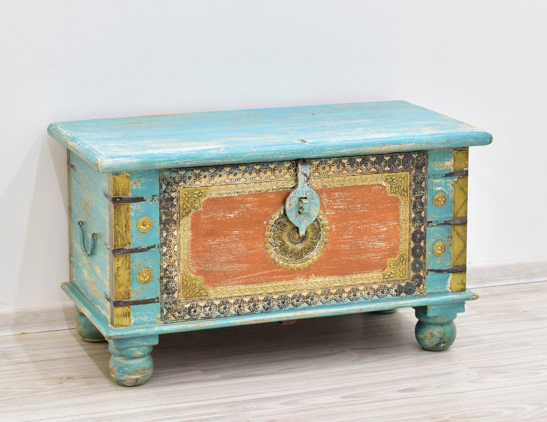 Kufer kolonialny skrzynia lite drewno mango recznie malowana kolorowa zdobiona