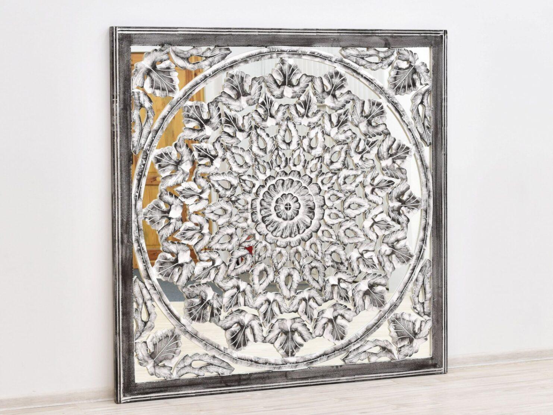 Panel scienny indyjski dekoracyjny azurowy z lustrem przecierany unikat