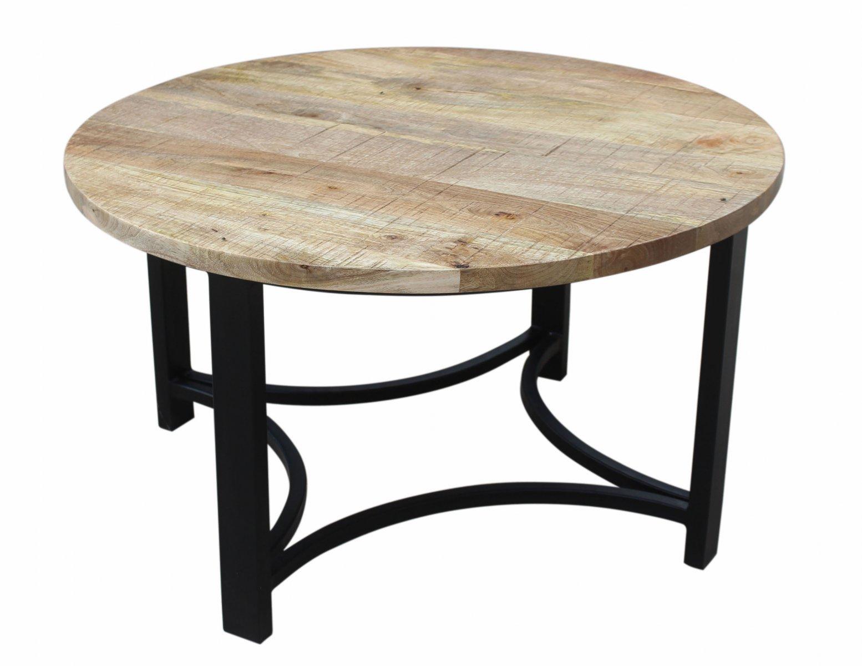 Stolik kawowy kolonialny okragly blat lite drewno mango nogi metal styl Loft