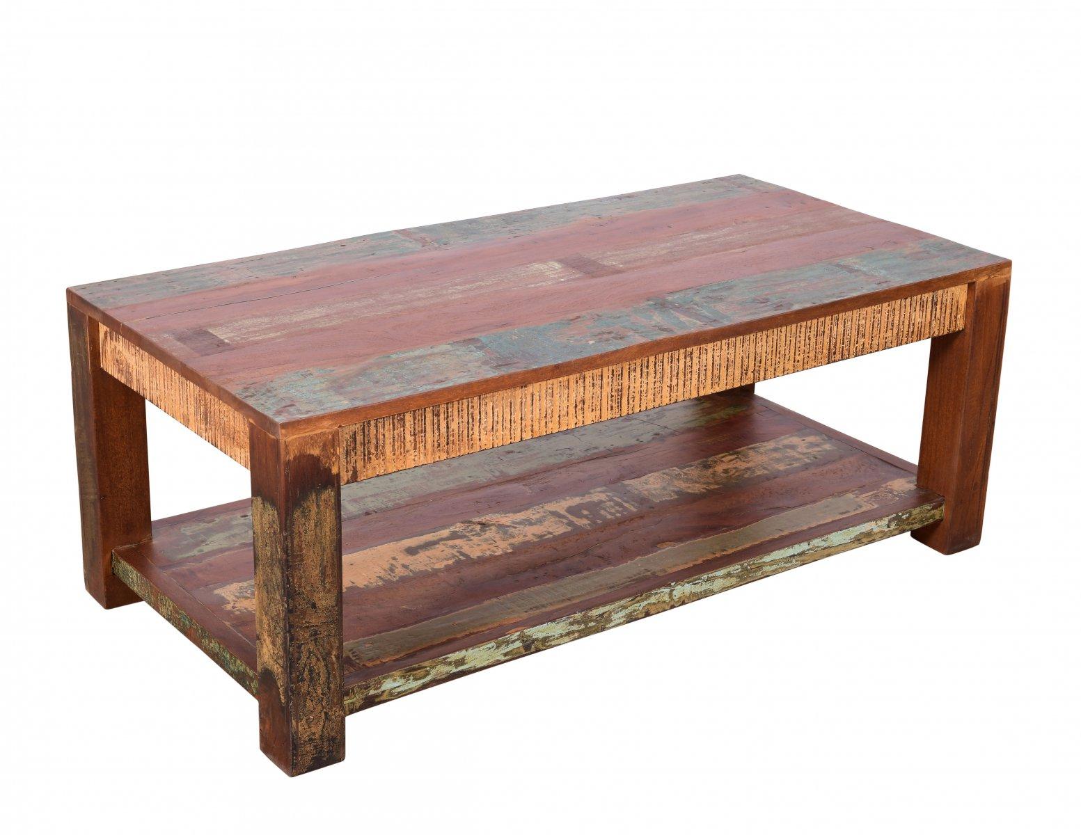 Stolik kawowy kolonialny rustykalny przecierany kolorowy lite drewno mangowiec indyjski