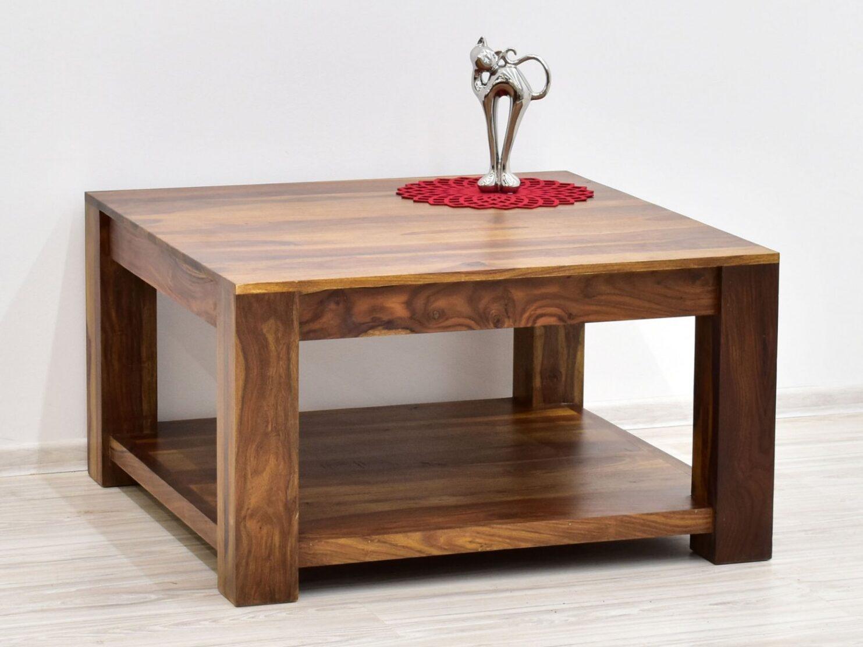 Stolik kawowy kolonialny z litego drewna palisandru indyjskiego jasny braz nowoczesny z polka