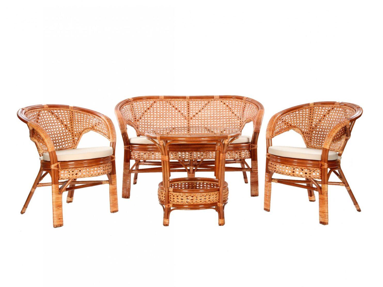 Komplet wypoczynkowy z rattanu w kolorze koniakowym okragly stolik 2 fotele sofa 2-osobowa