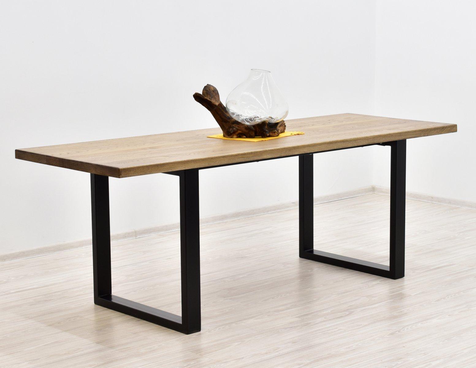 Stol nogi metal blat lite drewno dab loft (1)