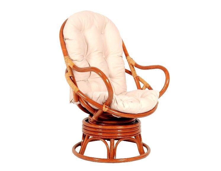 Fotel bujano-obrotowy rattanowy z poduszka koniakowy