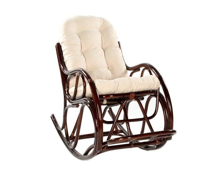 Fotel bujany rattanowy z poduszka ciemny braz