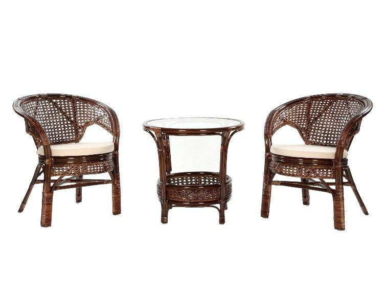 Komplet kawowy tarasowy rattanowy stolik 2 fotele z poduszkami ciemny braz