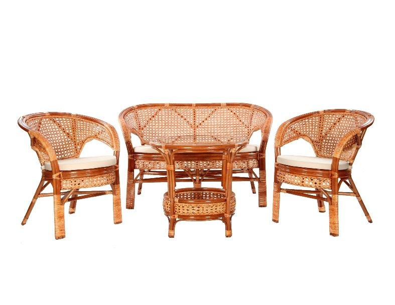 Komplet wypoczynkowy tarasowy rattanowy stolik 2 fotele sofa poduszki koniak