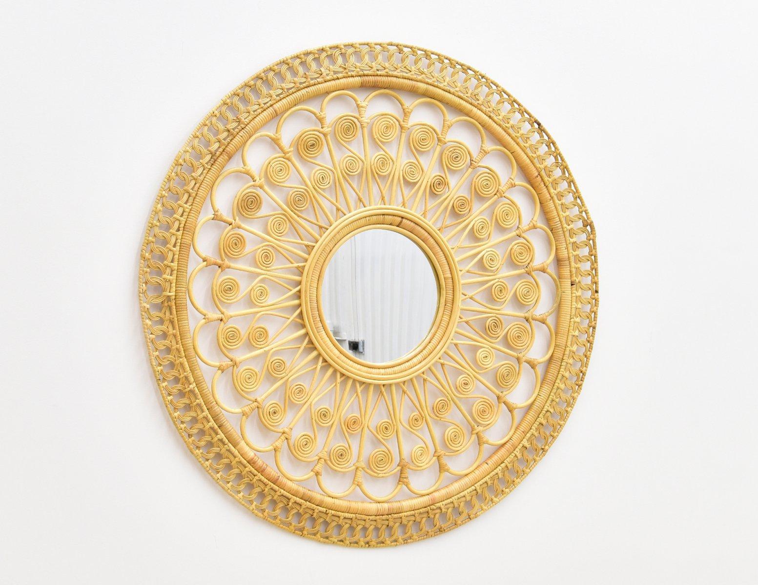 lustro miodowe rattan okragle (1)