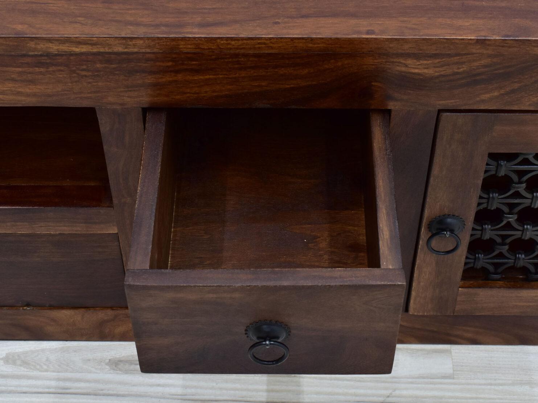 komoda kolonialna z metalem lite drewno palisander