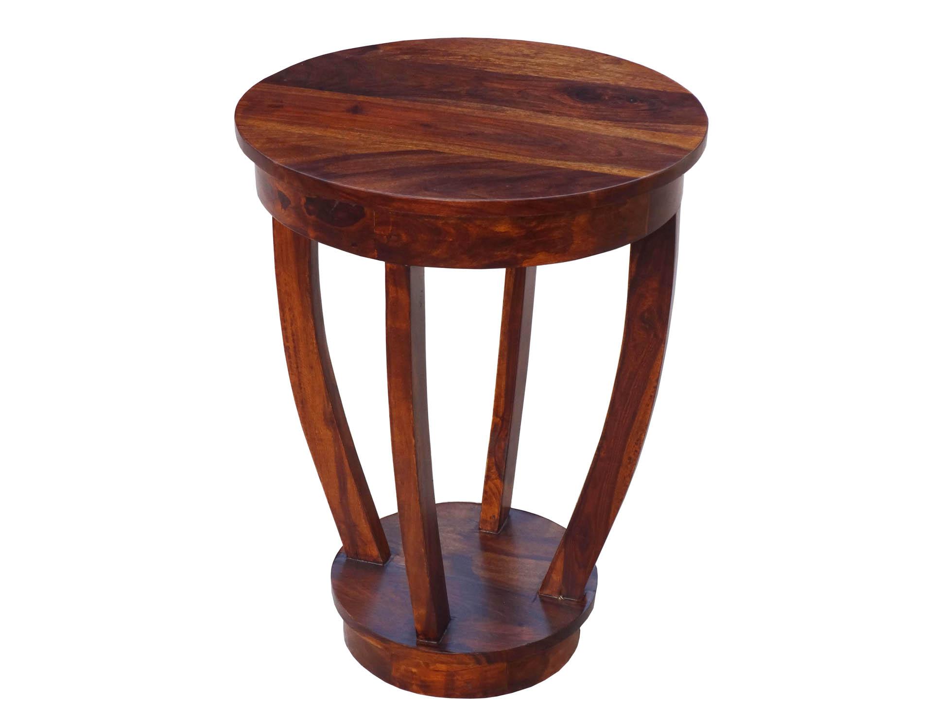 stolik kolonialny indyjski okragly lite drewno